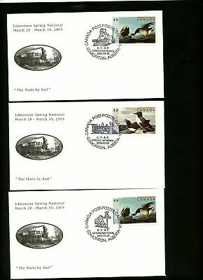 Lot 78049 Canada 3 Size 8 Unaddressed  Covers Birds Train The Mails By Rail