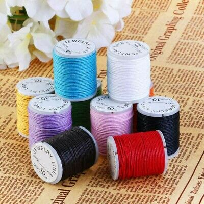 10 Roll 10m Waxed Cotton Macrame Cord Jewelry Beading Making String 1mm