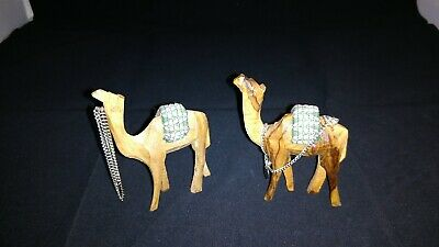 """2 Hand Carved Camels With Blanket and Reins 3"""" x 3 1/2"""" tall"""