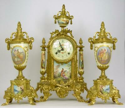 Antique French Louis XVI Style, Porcelain & Brass German FHS Clock & Garniture.