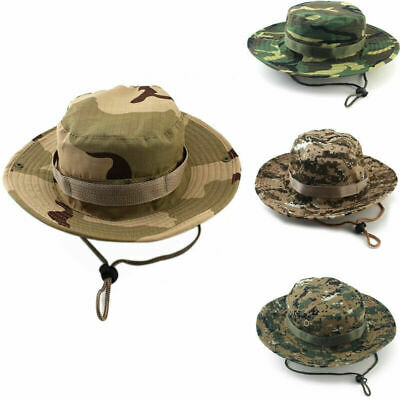 Mens Fishing Hunting Bucket Hat Boonie Military Outdoor Wide Brim Camo Sun Cap