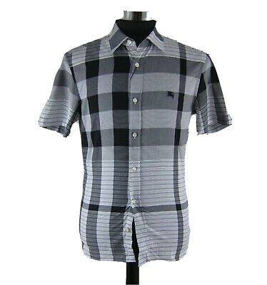 J-2100118 New Burberry Black Plaid Button Short Sleeved Oxford Shirt Size Small