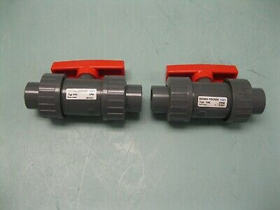 "Lot (2) 1/2"" +GF+ Georg Fischer Socket End PVC Ball Valve NEW H13 (2435)"