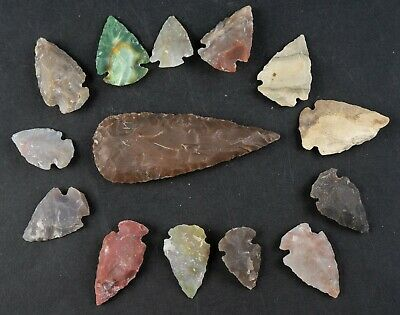 "14 PC Flint Arrowhead Ohio Collection Points 1-3"" Spear Bow Stone Hunting 1654"