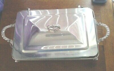 Silverplate Casserole w/lid w/pryex oblong 3qT 10x14 Footed, SEE SHIPPING NOTE