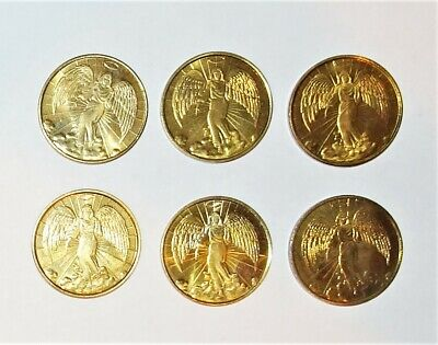 6 Double Sided Gold Metal Angel Coins Religious Vintage