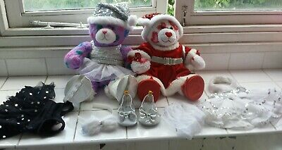 2 BuildaBear soft toys with shoes & clothes. Purple Peace & Hugs. Valentine bear