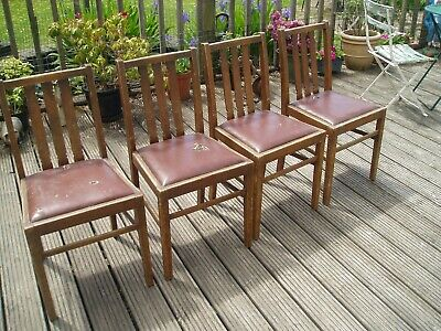 Set Of Four Ercol Mid Century Oak  Dinning Chairs For Refurbishment /Upcycle