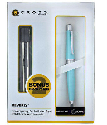 Cross Beverly Teal Lacquer Ballpoint Pen & 2 Refills New In Box AT0492H-18/18