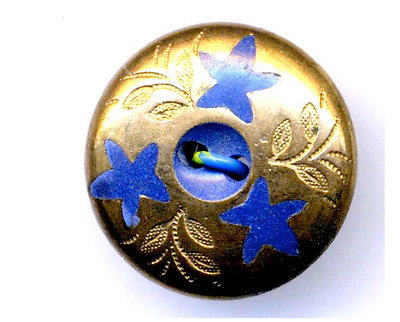 Antique Button...Great Blue Composition with Pierced Brass Overlay with Stars