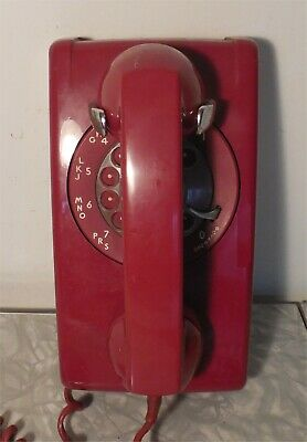 Vintage 'Western Electric' Red Rotary Wall Phone