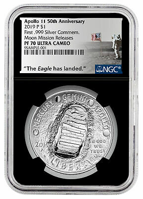 2019 P US Apollo 11 Silver Dollar Moon Mission Releases NGC PF70 Black SKU58655