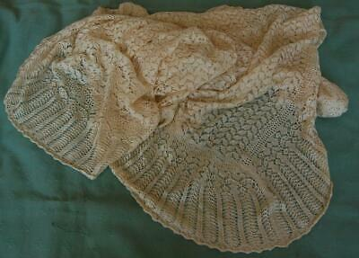 Antique Cream Silk Knitted Woven Shawl Blanket Restoration Dolls Craft c1910-20s