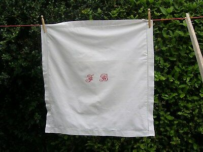 French Antique Vintage White cotton Monogrammed Pillow Case cushion cover
