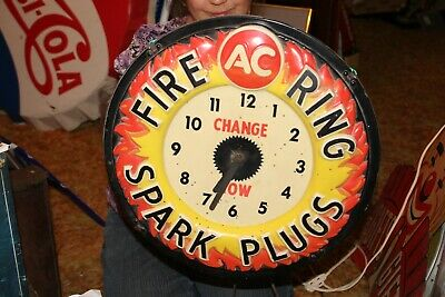 "Vintage 1960's AC Spark Plugs Chevrolet Gas Oil 16"" Embossed Lighted Clock Sign"