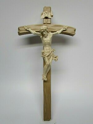 Carved Wooden Crucifix - Oberammergau, Germany - Natural Wood Covered with Wax
