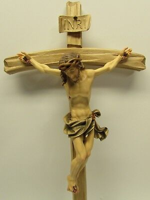Barock Wooden Crucifix - Oberammergau, Germany, German, Hand Carved & Painted