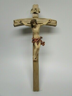 Barock Wooden Crucifix - Oberammergau, Germany, Wood, Hand Carved & Painted, Red