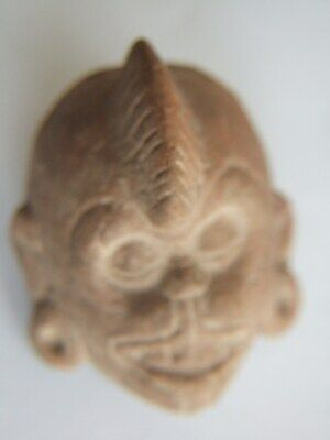 Mayan terracotta whistle in form of a Monkey head with earrings 600 AD