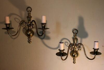 Pair VINTAGE Brass Gothic Flemish Style Double Candle Sconce Wall Light Lamps -B