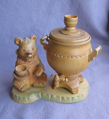 Carved Wood Russian Bear Honey Pot Candlestick Black Forest Style