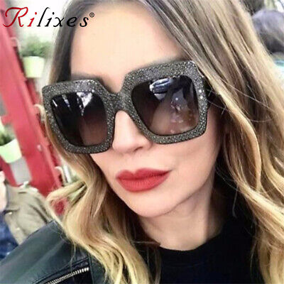 New OVERSIZED EXAGGERATED VINTAGE RETRO Style SUN GLASSES Large Bling Gray Frame