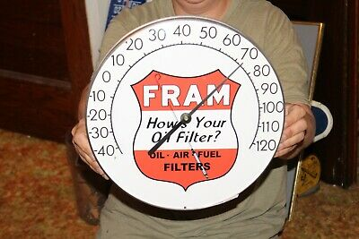"Vintage 1960's Fram Oil & Fuel Filters Gas Station 12"" Metal Thermometer Sign"