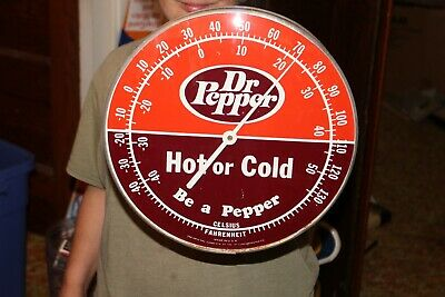 "Vintage 1960's Dr Pepper Soda Pop Gas Station 12"" Metal & Glass Thermometer Sign"