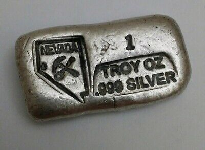 1 Troy oz .999 Fine Silver Bar Hand Poured Nevada Carson City