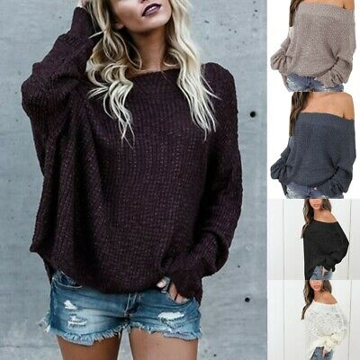 Winter Womens Off Shoulder Baggy Top Ladies Chunky Knit Oversized Sweater Jumper