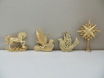 Gold Christmas Ornaments / Rocking Horse, Doves, Star Tree Topper