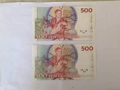 Circulated 500 Denomination Outmoded Swedish Kronor Bank Notes.