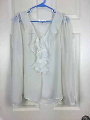 Tart Collections Sz L White Long Sleeve Ruffled Pullover sheer blouse