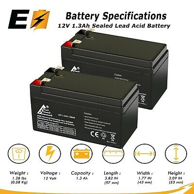 2 Pack: ExpertBattery SLA Replacement Battery for PS-1212 Powersonic 12V 1.3Ah