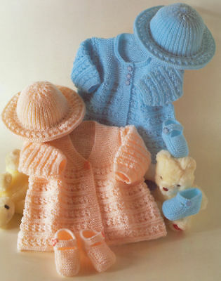 Vintage Knitting Pattern Copy Baby Matinee Coats Hat & Shoes