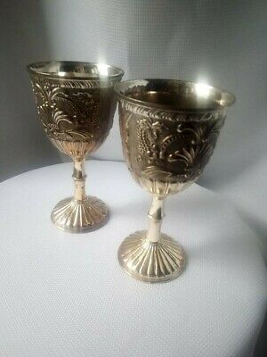 Nice Vintage & Unique Pair of Silver plated Engraved Wine Goblets