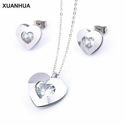 Stainless Steel Jewelry Woman Zirconia Heart Jewelry Sets Fashion Necklace And E