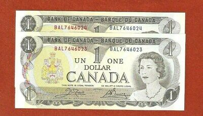 2 1973 Consecutive Serial Number One Dollar BankNotes Gem Uncirculated E368