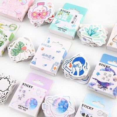 46Pcs Cute Journal Planner Washi Paper Stickers Scrapbooking Decor Stationery