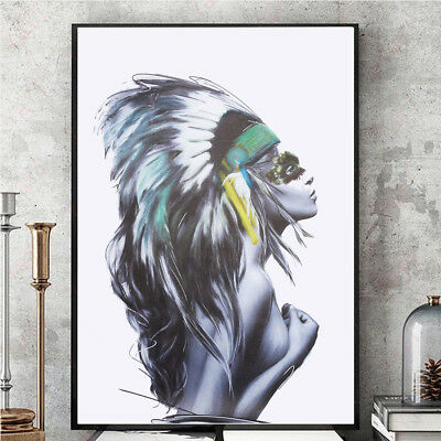 Nordic Girl Portrait Poster Canvas Picture 60*80cm Home Wall Art Painting Unfram