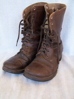 Bf Goodrich Brown Leather U.s. Military Combat Boots Paratrooper Boots Sz 8W