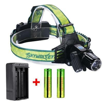 Zoomable  3X T6 LED USB Headlamp 35000LM Light Bike Torch +18650 +Charger DX