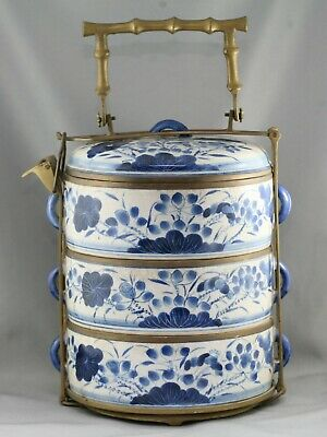 Fantastic Antique Chinese Hand Painted Porcelain Tiffin Solid Brass Mount c1900s