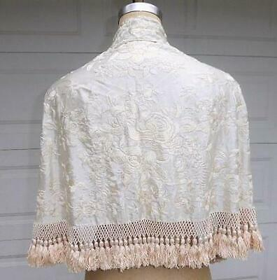 Antique Cream On Cream Silk Embroidery Capelet Shawl W Fringe & Tassels