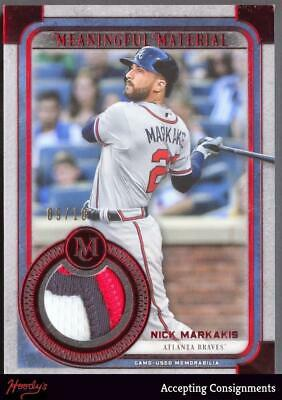 2019 Topps Museum Collection  Material Red  Nick Markakis  3 COLOR PATCH 09/10