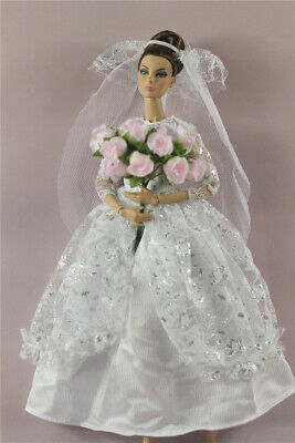 Fashion Royalty Princess Wedding Dress/Gown+veil+bouquet For 11.5 in. Doll c53