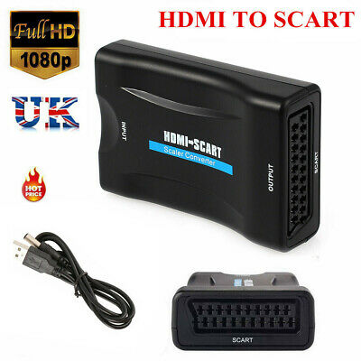 Pro Scart To HDMI Converter Audio Video Adapter For 1080P HDTV Sky Box UK Plug