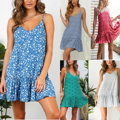 Women Sling Dress V-neck Floral Print Summer Beach Party Holiday Cocktail Dress