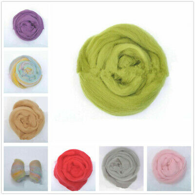 10g Multicolor Genuine Wool Top Fibre Roving For Needle Felting Materials Lots
