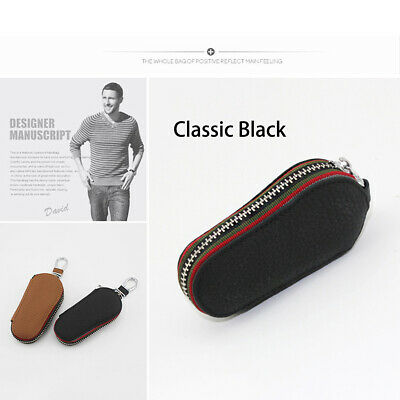 Useful Leather Car Key Chain Ring Keychain Case Holder Zipped BagsPurse Pouch AU